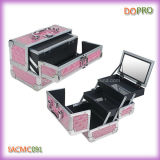 Las pequeñas pestañas del color de rosa caliente de la venta llevan la caja de aluminio de la belleza con el espejo (SACMC091)