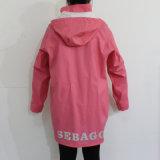 Темный розовый с капюшоном водоустойчивый плащ PU