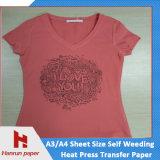Nenhum papel de transferência térmica da remoção de ervas daninhas do auto do corte para o t-shirt 100% do algodão