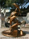 Combinación del delfín, escultura decorativa del acero inoxidable de la decoración al aire libre del jardín