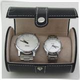 Caixa de empacotamento do relógio feito sob encomenda de couro do plutônio dos pares para o homem