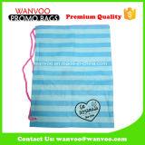 2015China青い縞の大きい容量のドローストリングポリエステルクリスマスのギフト袋