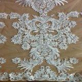 Tela nupcial del cordón del telar jacquar del bordado para la alineada de boda