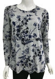 T-shirt 100% de mèche de coton de qualité pour des femmes avec Toute-Ovr impression