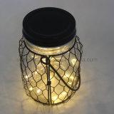 고전적인 작풍 철 그물에 의하여 감싸이는 명확한 유리제 거는 개똥벌레 LED 밤 손전등