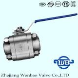 Válvula de esfera de alta pressão do aço inoxidável de três partes