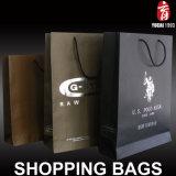 Bolsas de papel brillantes de encargo de las compras de la laminación