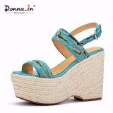 Absatz-Schuh-Frauen-Seil-Plattform-Sandelholze der Dame-Casual Fabric