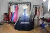 Vestido de noite real de cristal Ya65 dos grânulos nupciais azuis dos vestidos de esfera