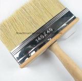 Cepillo de cerdas blancas bloque de techo de pintura con mango de plástico Negro