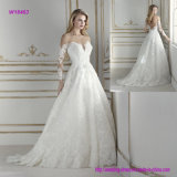 A caraterística a mais impressionante do vestido de casamento espetacular de Ballgown da luva longa do projeto do corpete