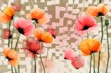 розовый цветок 3D и белая картина маслом формы губы