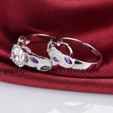 놓이는 자주색 잎 디자인 신부 반지 - 40