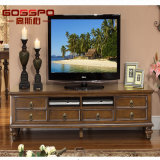 Diseño clásico del soporte de madera sólida TV del estilo americano (GSP15-001)