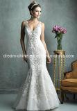 Сшитое из органзы и кружева Русалка свадебное платье