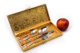 De Reeksen van het Bestek van het Roestvrij staal van de Verpakking van de Doos van de gift met Gouden Handvat