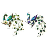 2 Asst Metal Graceful Peacock Craft for Wall