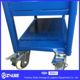 Blue Double Layer Steel Platform Trolley