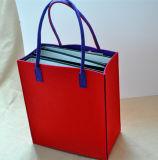 """12 """" *14 """"の*6 """"サイズ、ショッピングを用いる赤のフェルトのハンドル袋、ブックバッグ"""