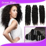 完全なクチクラのバージンの未加工巻き毛の波のブラジルの毛機械よこ糸