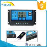 12V 24V 20A Solarladung-Controller für Solarhauptsystem mit Doppel-USB-helle Zeit-Steuerung Cm20k-20A