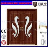 Porte en bois en verre de PVC de double lame