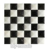 Mattonelle di mosaico di marmo naturali in bianco e nero per la parete Decoretion (FYSL377)