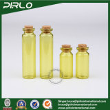 10ml 20ml het Gele Flesje van het Glas van de Kleur met Cork Farmaceutische Lege Cork van het Glas van de Olie van de Essentie van het Parfum van de Fles van het Glas In het groot Fles
