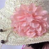 100% Strohhut, Style der Form-Dame mit Blumen-Dekoration
