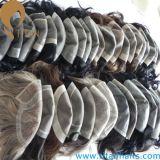 Toupee super do cabelo dos homens finos naturais da pele da linha fina