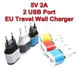 Цвет заряжателя переходники перемещения USB 5 v 2A Poorten штепсельной вилки EU двойной на iPhone 5 s 6 6lus