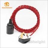 Jogo de cabo Twisted trançado do plugue de matéria têxtil das BS das vendas certificação quente com suporte da lâmpada