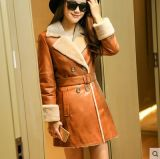 Pink Fashion Lady's Shearling and Lamb Leather Coat Long Style