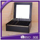 Venta al por mayor cosmética del rectángulo de papel del negro de la dimensión de una variable del arco con la tapa con bisagras