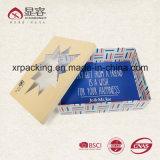 Rectángulo de empaquetado de Kraft de cartulina acanalada del regalo de lujo de encargo del papel con la impresión de la insignia