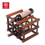 9 bottiglie cremagliera della bottiglia di vino del vino del metallo e di legno della cremagliera