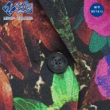 Botón colorido abstracto del modelo de apertura de cama Collar Moda Mujeres Blusa
