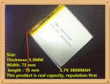 3.7V 3800mAh 507575 de Navulbare Batterij van Li-Po van het Lithium van het Polymeer voor GPS PSP Het e-Boek van het dvd- Stootkussen de Bank van de Macht van PC van de Tablet