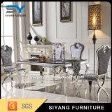 Mesa de jantar de mármore moderna com pés de aço inoxidável