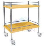 AG-Ss053c con dos la carretilla amarilla del acero inoxidable del hospital 2-Tier de ISO&Ce de las capas