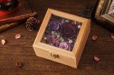 나무로 되는 선물 상자는 창조적인 선물을%s 신선한 꽃을 보존했다