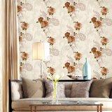 Papel pintado del diseño de la flor del PVC del dormitorio de la capa de la pared de la decoración de la pared interior