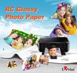 Papier lustré enduit roulé aqueux de photo de la résine RC /Satin de qualité