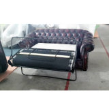 Italienisches ledernes Chesterfield-Luxuxsofa mit Sofa-Bett-Funktion Ms-30#
