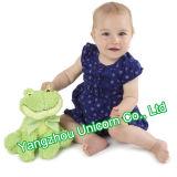연약한 박제 동물 아기는 진정시킨다 개구리 견면 벨벳 장난감을 유화한다
