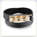 Joyería de la pulsera de la pulsera del cuero de la joyería del acero inoxidable (LB512)