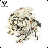 女性のための高品質の印刷の蝶そして花の純粋な絹のスカーフ