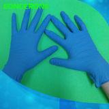 Gants d'examen en nitrile jetables de haute qualité avec couleur bleue