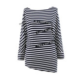 Fashion Stripe Custom Design T-Shirt delle donne con Navy Style