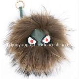薄い灰色のアライグマの毛皮の球モンスターKeychains